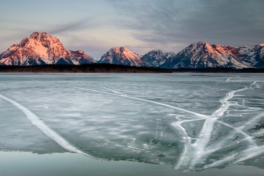 Sunrise and ice in the Tetons